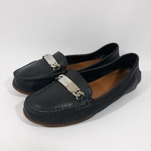 Coach Olive Blue Leather Loafers Slip On Flats 7B